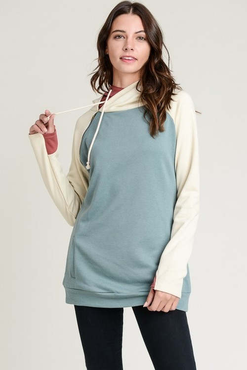 French Terry Double Hoodie Sage