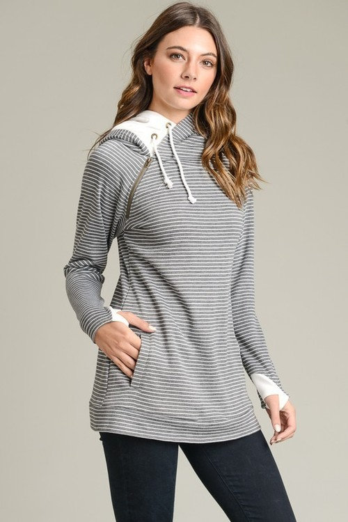 French Terry Double Hoodie Grey Stripe