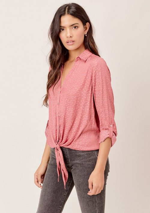 Star Jacquard Tie Front Top