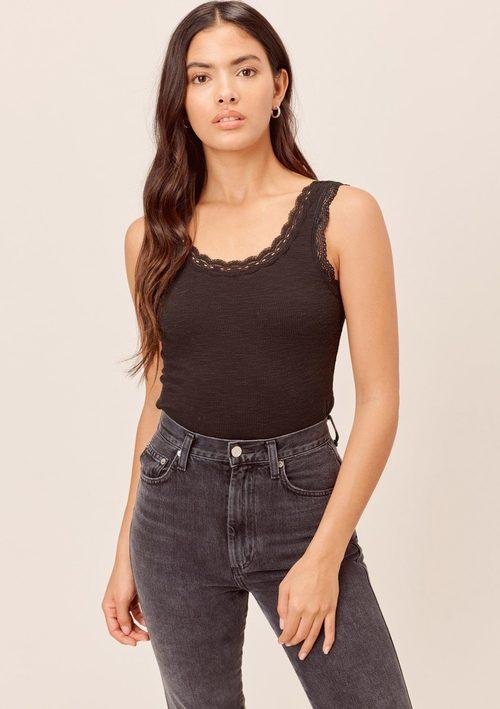 Black Lace Trim Textured Cami