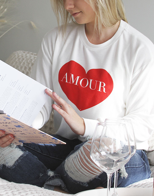 """Amour"" Red Heart Sweater"