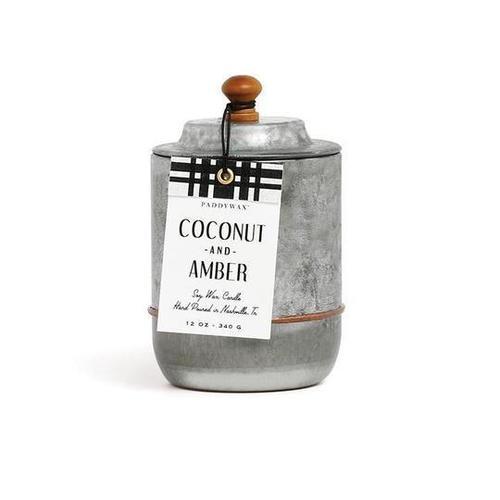 Homestead Galvanized 12 oz Coconut & Amber Candle