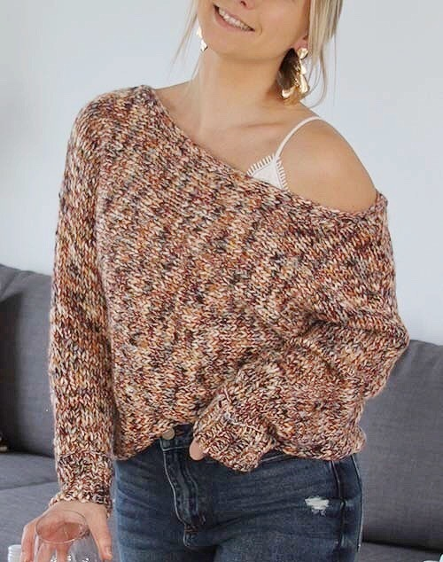 Wide Neck Multi Knit Sweater