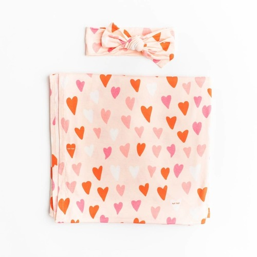 Heart Swaddle & Headband Set