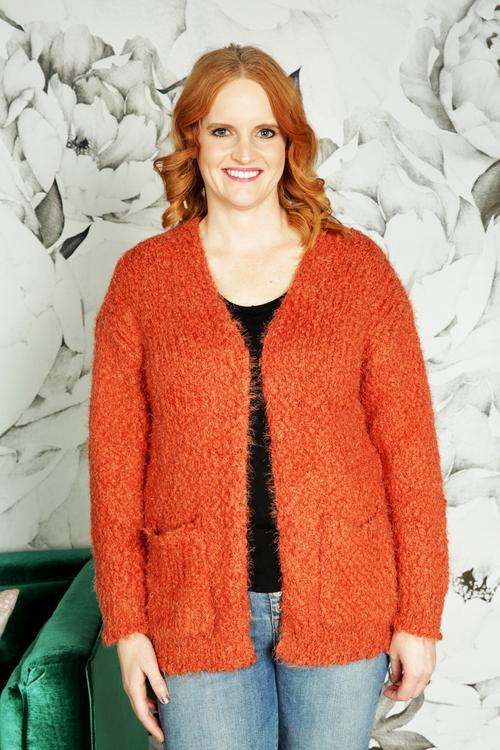 Rust Camilla Open Front Cardigan