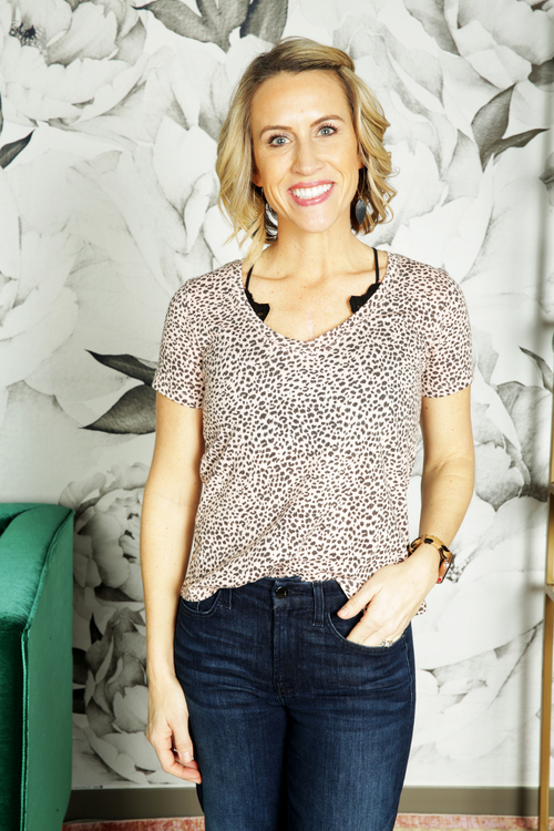 The Pale Blush Mini Leopard V Neck