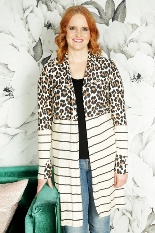 Animal Print Colorblock Cardigan