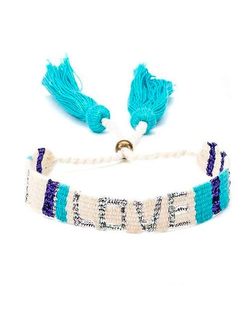 Atitlan LOVE Bracelet - White & Blue