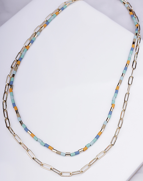 Multi Bead & Chain Layered Choker
