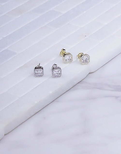 Cushion Cut Diamond CZ Halo Stud