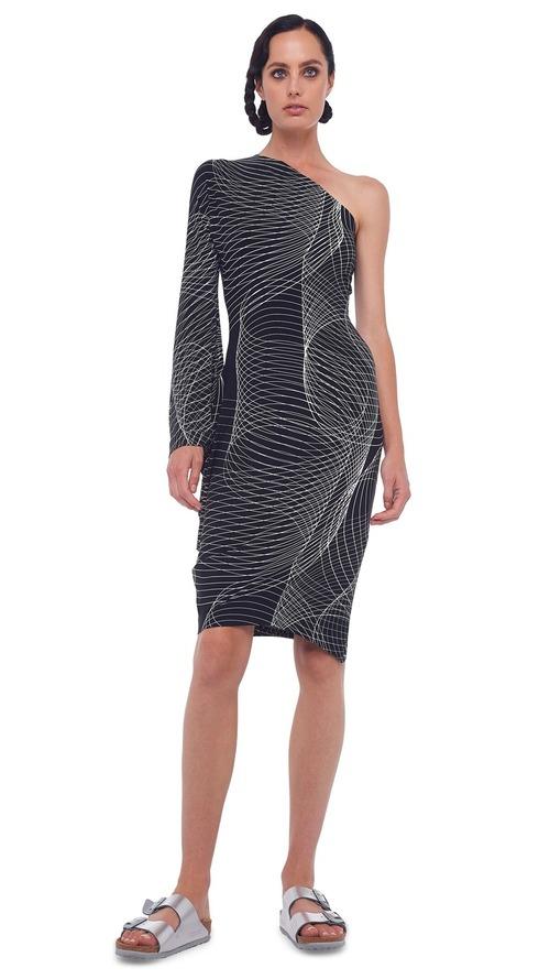One Shoulder Modern Sculpture Dress