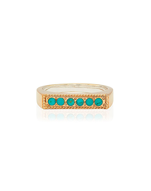 Turquoise Pave Bar Stacking Ring