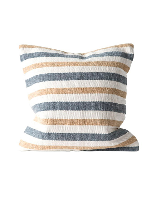 "20"" Square Cotton Striped Pillow - Sand"