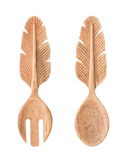 Feather Hand Carved Mango Wood Servers