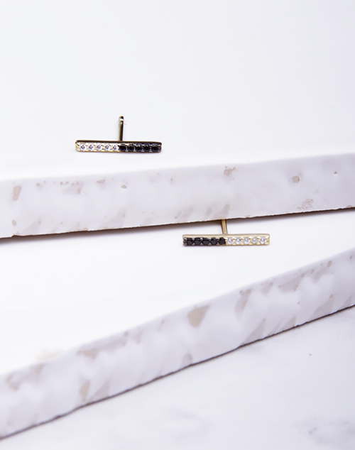 Black & White Split CZ Bar Stud