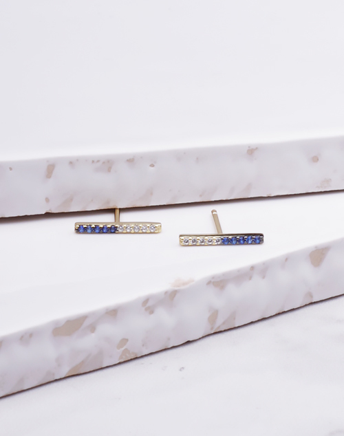 Navy Blue & White Split CZ Bar Stud