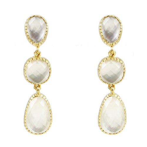 18K Platd Gold Three Drop Stone Earrings