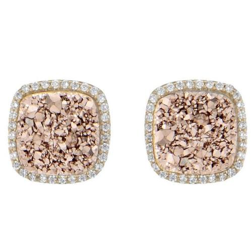Gold plated CZ surrounding square shaped studs