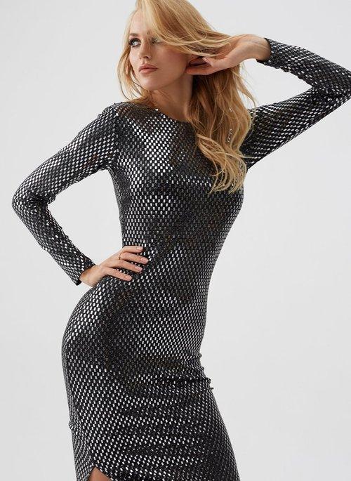 Silver Check Midi Dress