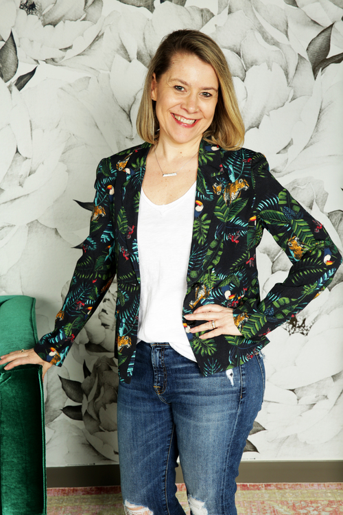 Tropical Print Blazer