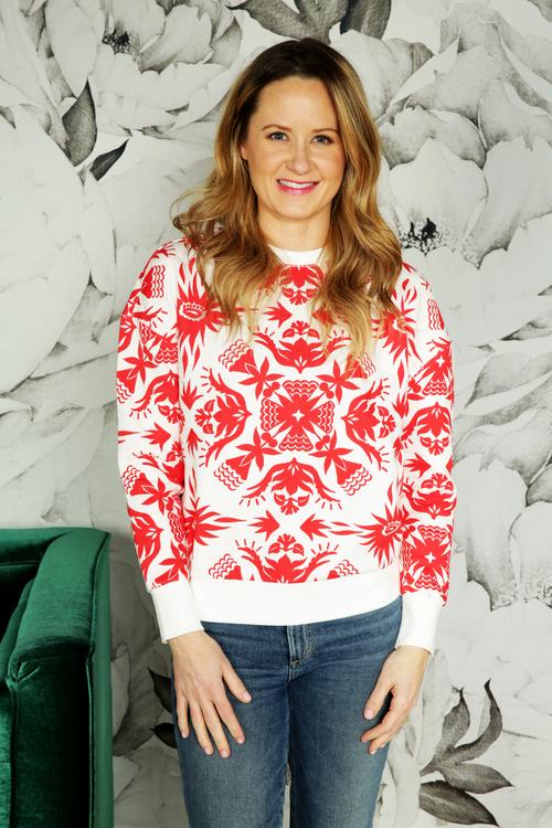 Spring Print Crewneck Sweater