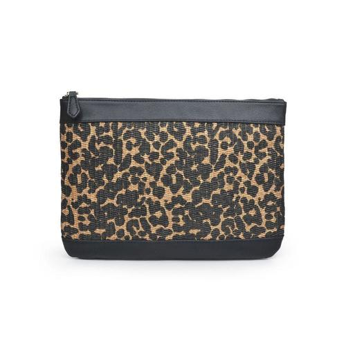 Ibiza Brown Leopard Canvas Clutch