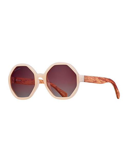 Donna Beige/Wood/ Gradient Polarazied Sunglasses