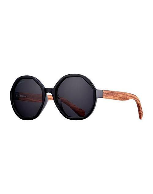 Donna Black/Wood/ Smoke Polarazied Sunglasses