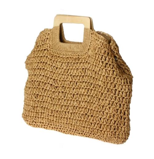 Top Handle Straw Bag - Tan