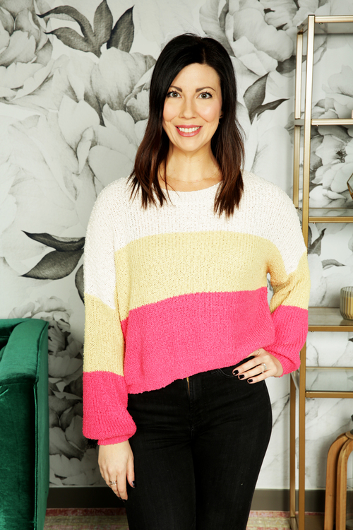 Cropped Colorblock Sweater