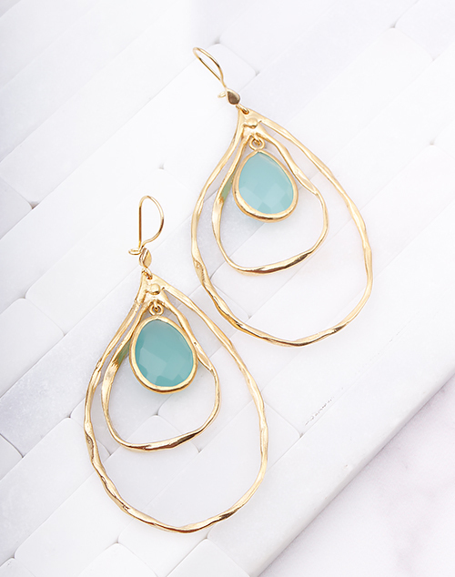 Hammered Organic Aqua Dangle