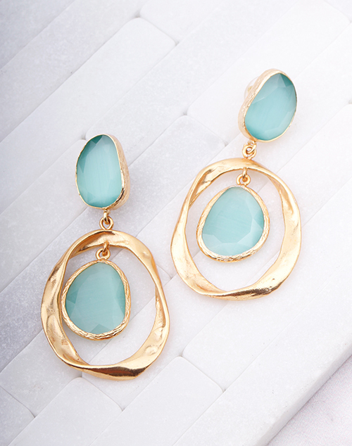 Twist Aqua Stone Dangle