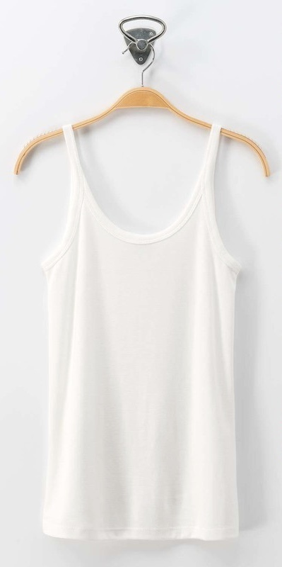 Off White Scoop Neck Basic Sleeveless Top