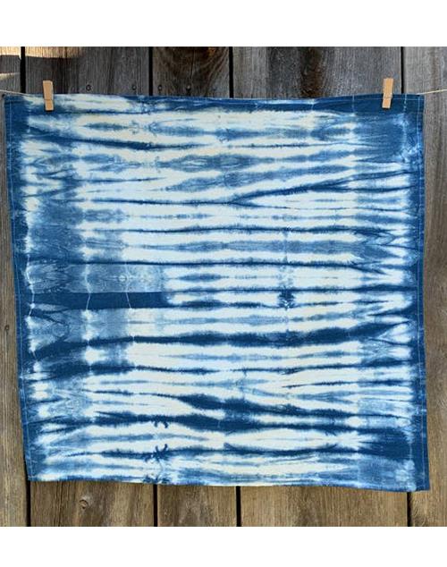 Indigo Shibori Tea Towel Stripes