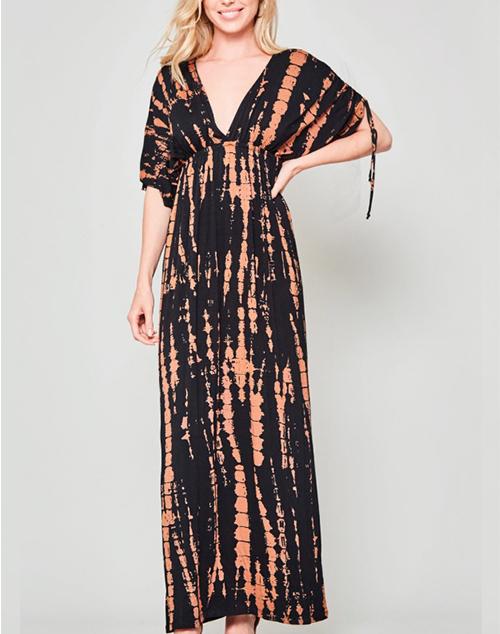 Mystic V Neck Tie Dye Maxi Dress