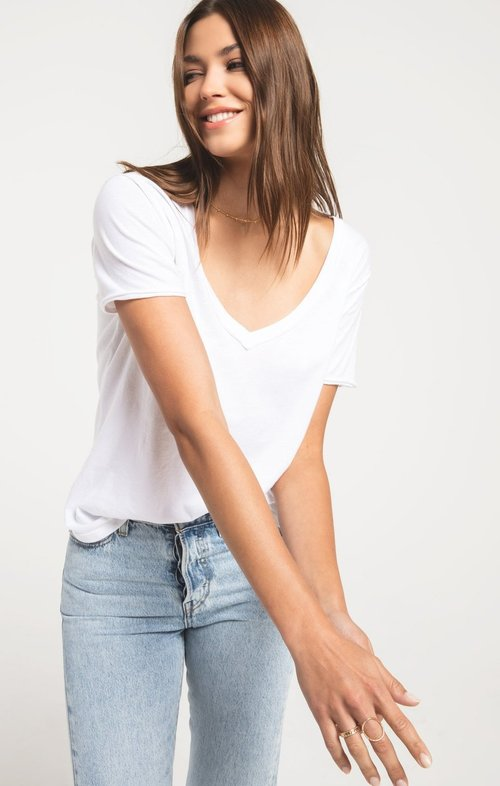 The White Organic Cotton V Neck Tee