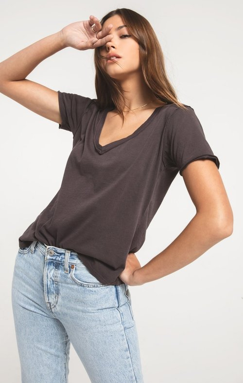 The Graphite Organic Cotton V Neck Tee