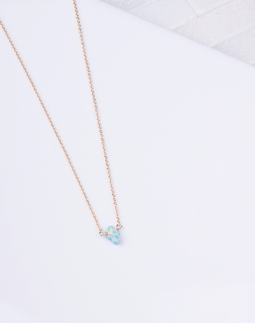 Hamsa Sm. Sea Green Opal Necklace-14K Gold Filled
