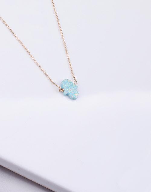 Hamsa Med. Sea Green Opal Necklace-14K Gold Filled