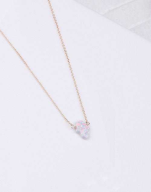 Hamsa Med. White Opal Necklace-14K Gold Filled