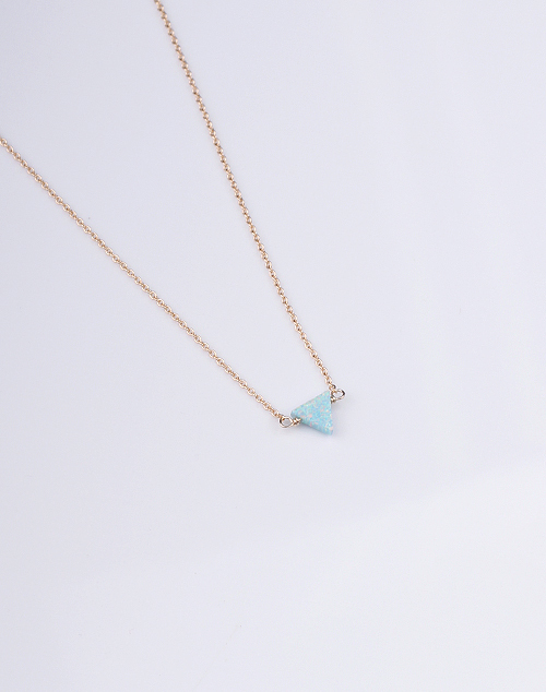 Triangle Sea Green Opal Necklace - 14K Gold Filled