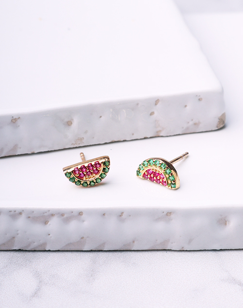 Watermelon Slice CZ Stud