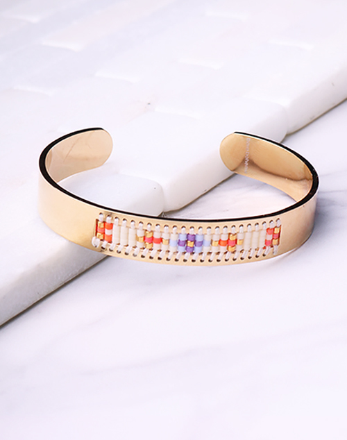 Cuff Seed Bead White - 18K Gold Filled