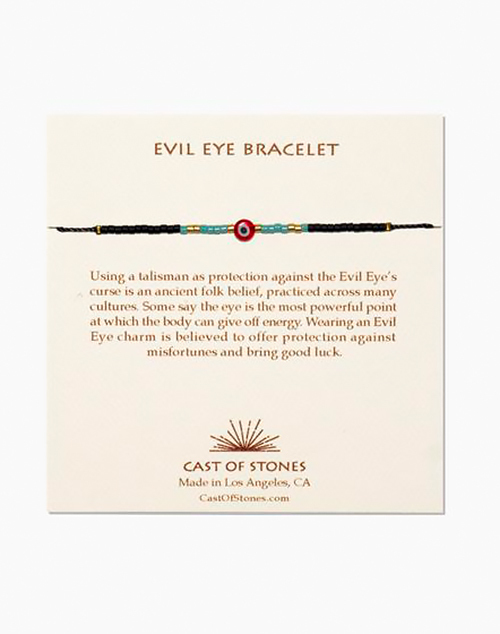 Glass Bead Evil Eye Bracelet - Red W/ Turquoise