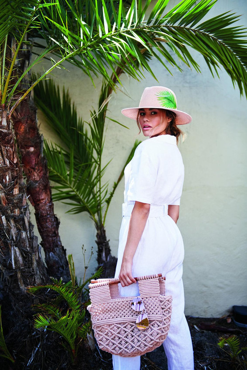Art Deco Macrame Bag Blush