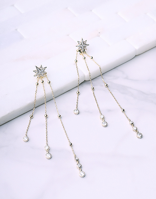 Starburst CZ Post Tiered Chain Dangle