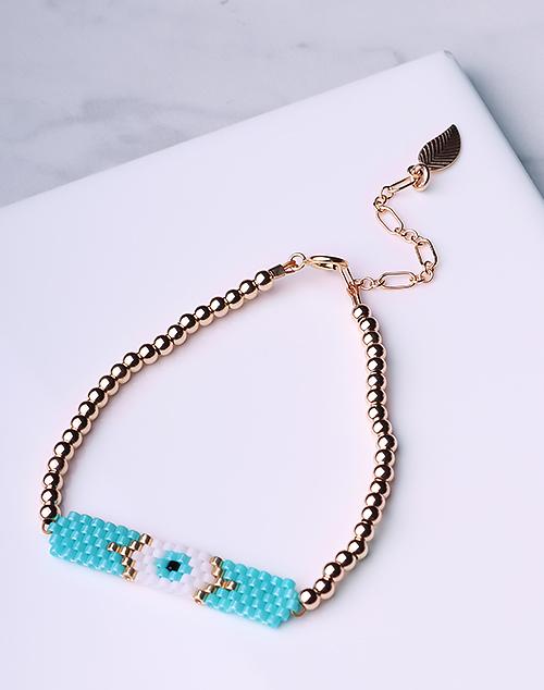 Evil Eye Seed Bead Turquoise Bracelet-14K Gold Filled