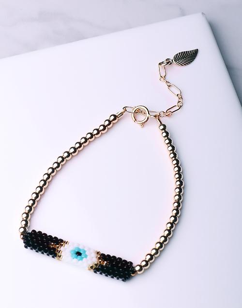 Evil Eye Seed Bead Black Bracelet-14K Gold Filled