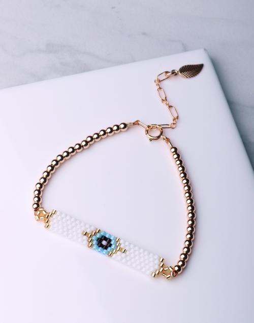 Evil Eye Seed Bead White Bracelet-14K Gold Filled