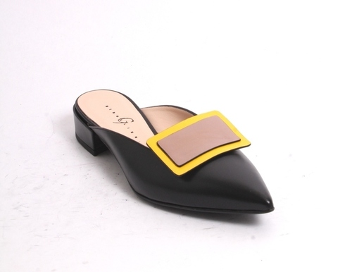 Black / Beige / Yellow Leather Pointed Shoe Mules
